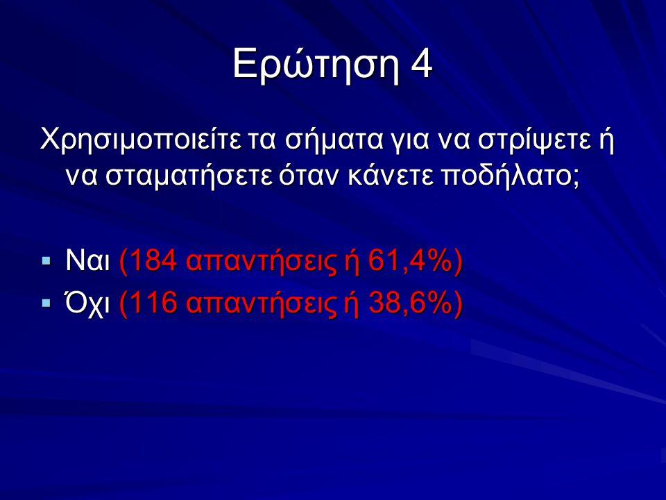Ερώτηση 4 Χρησιμοποιείτε τα σήματα για να στρίψετε ή να σταματήσετε όταν κάνετε ποδήλατο; Ναι (184 απαντήσεις ή 61,4%)