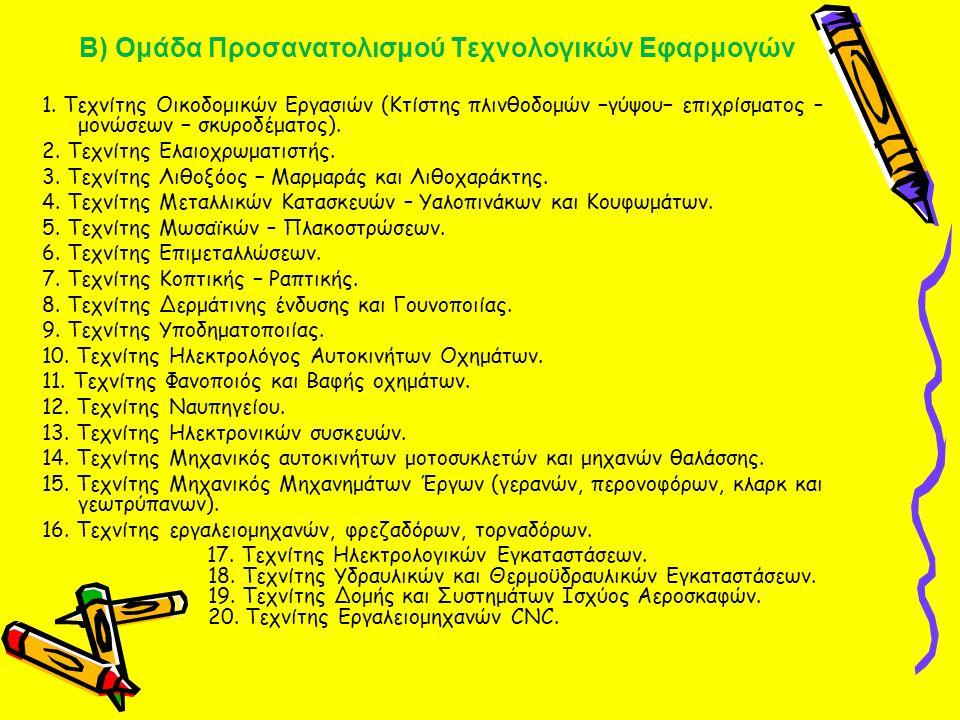 Β) Ομάδα Προσανατολισμού Τεχνολογικών Εφαρμογών