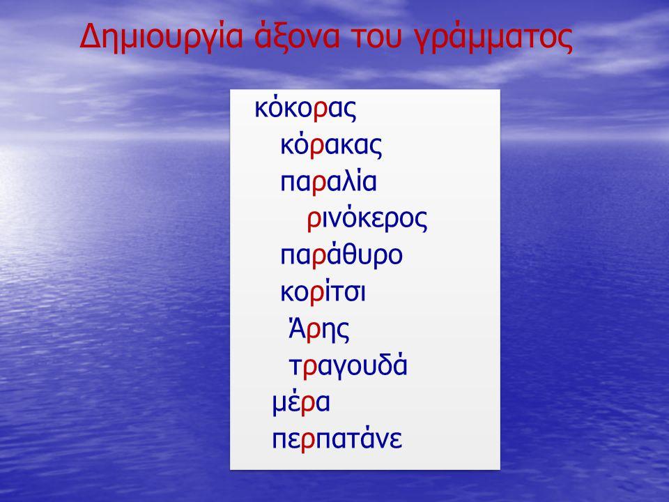 Δημιουργία άξονα του γράμματος