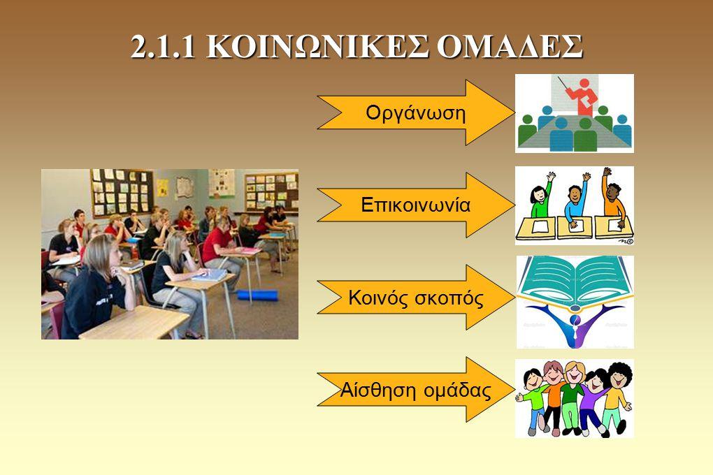2.1.1 ΚΟΙΝΩΝΙΚΕΣ ΟΜΑΔΕΣ Οργάνωση Επικοινωνία Κοινός σκοπός