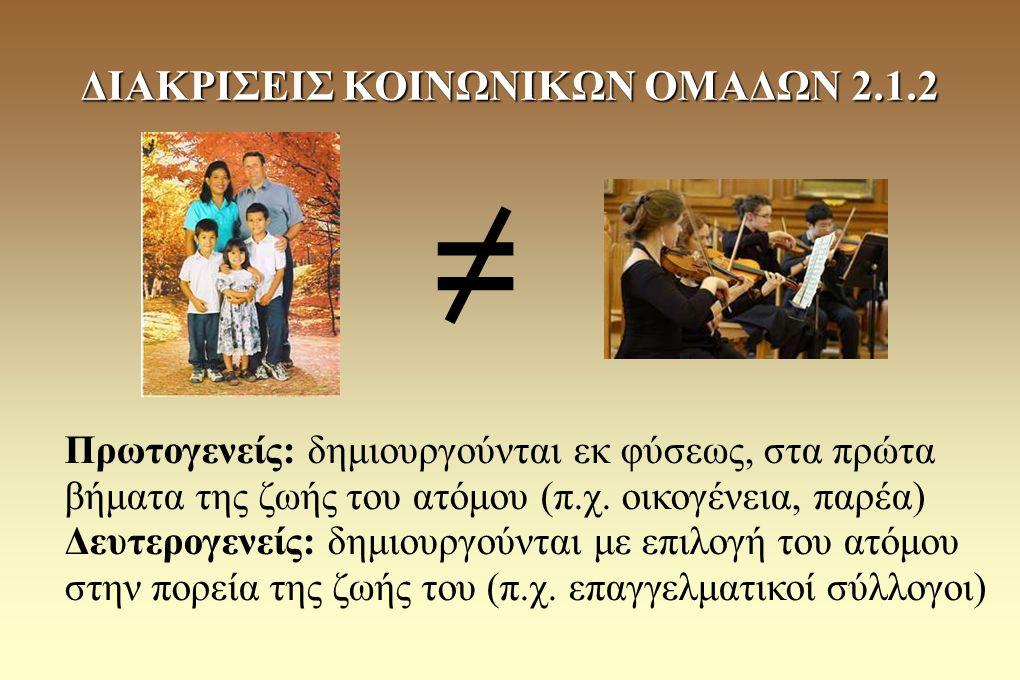 ΔΙΑΚΡΙΣΕΙΣ ΚΟΙΝΩΝΙΚΩΝ ΟΜΑΔΩΝ 2.1.2