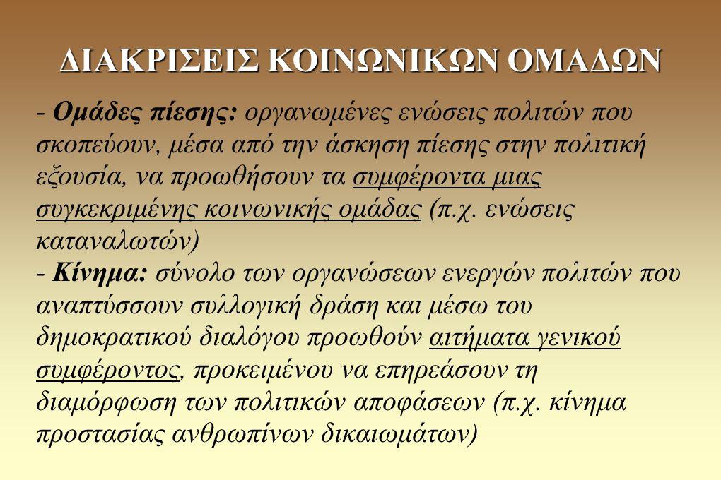 ΔΙΑΚΡΙΣΕΙΣ ΚΟΙΝΩΝΙΚΩΝ ΟΜΑΔΩΝ