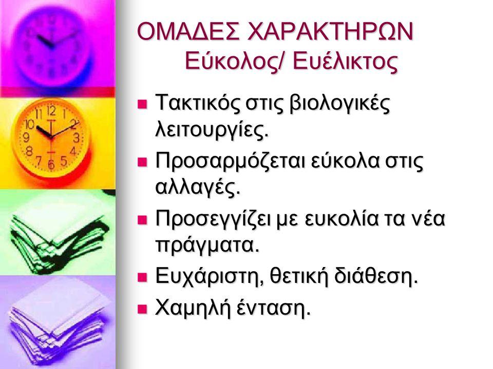 ΟΜΑΔΕΣ ΧΑΡΑΚΤΗΡΩΝ Εύκολος/ Ευέλικτος