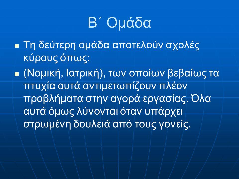 Β΄ Ομάδα Τη δεύτερη ομάδα αποτελούν σχολές κύρους όπως: