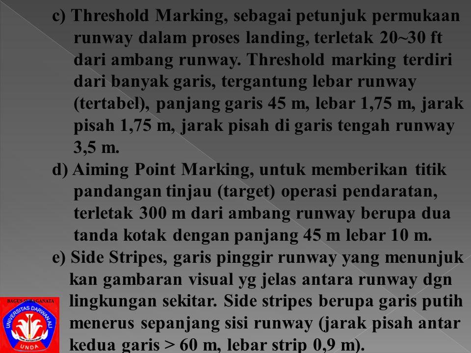 c) Threshold Marking, sebagai petunjuk permukaan