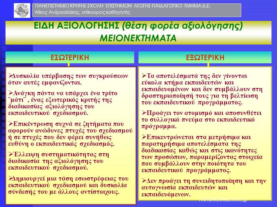 ΕΙΔΗ ΑΞΙΟΛΟΓΗΣΗΣ (θέση φορέα αξιολόγησης)