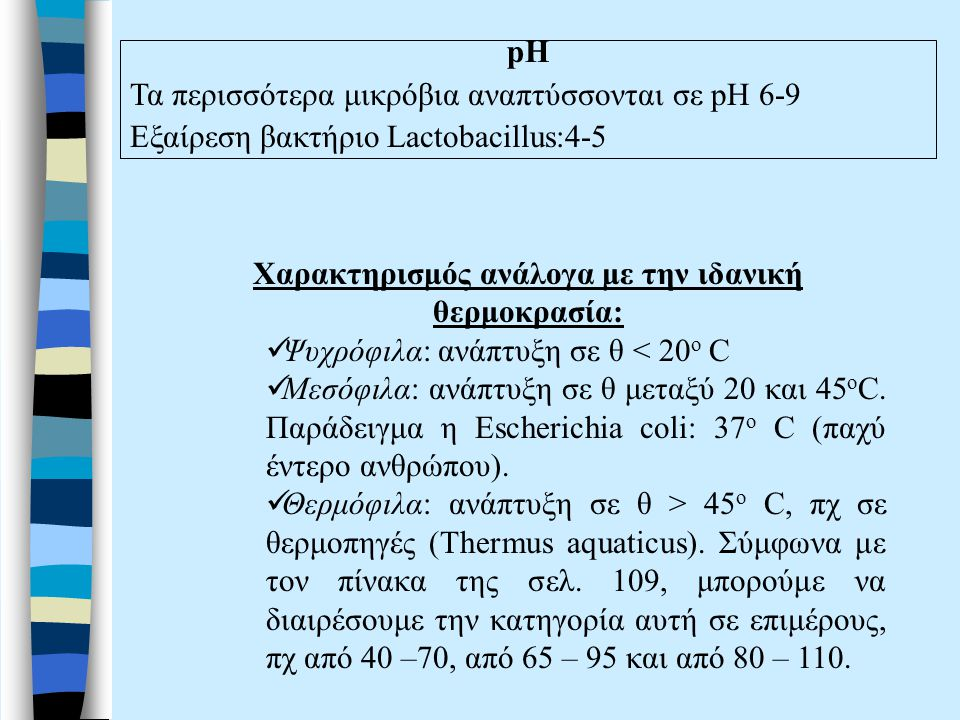 Χαρακτηρισμός ανάλογα με την ιδανική θερμοκρασία: