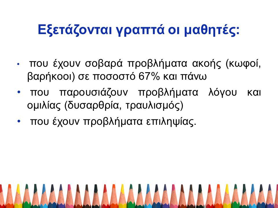 Εξετάζονται γραπτά οι μαθητές:
