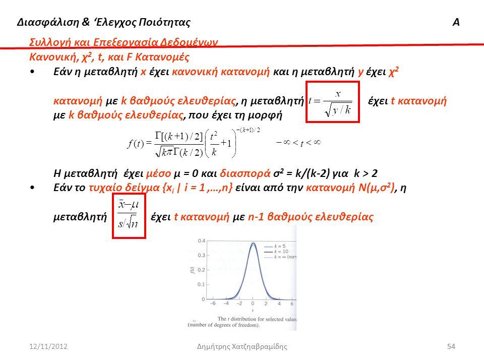 Συλλογή και Επεξεργασία Δεδομένων Κανονική, χ2, t, και F Κατανομές