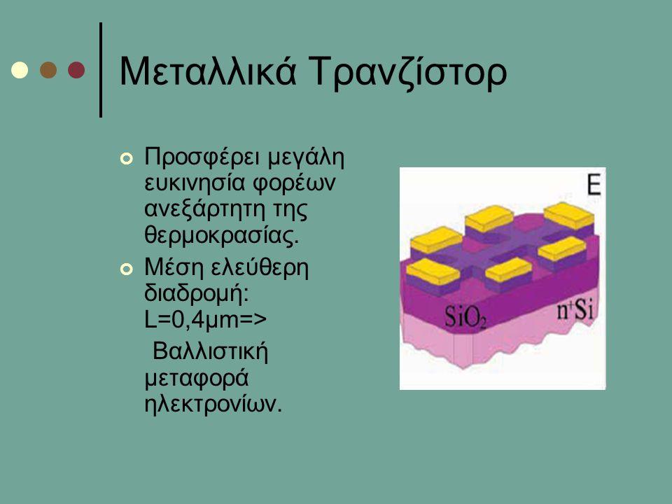 Μεταλλικά Τρανζίστορ Προσφέρει μεγάλη ευκινησία φορέων ανεξάρτητη της θερμοκρασίας. Μέση ελεύθερη διαδρομή: L=0,4μm=>
