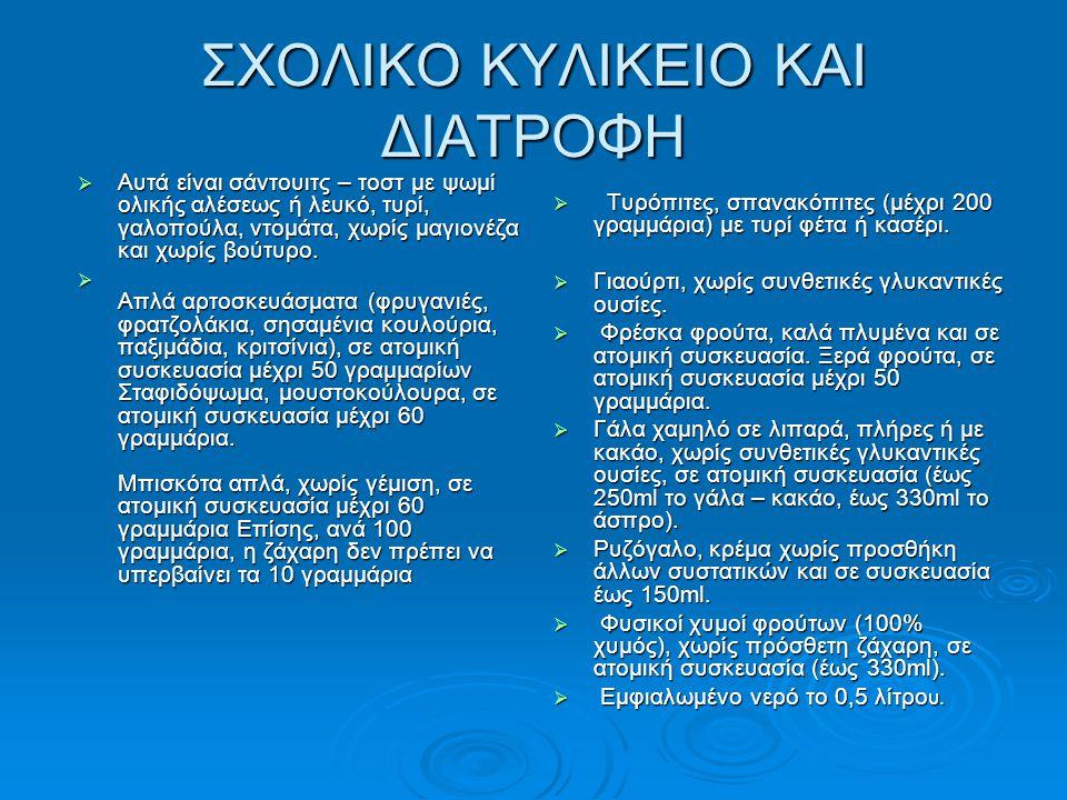 ΣΧΟΛΙΚΟ ΚΥΛΙΚΕΙΟ ΚΑΙ ΔΙΑΤΡΟΦΗ