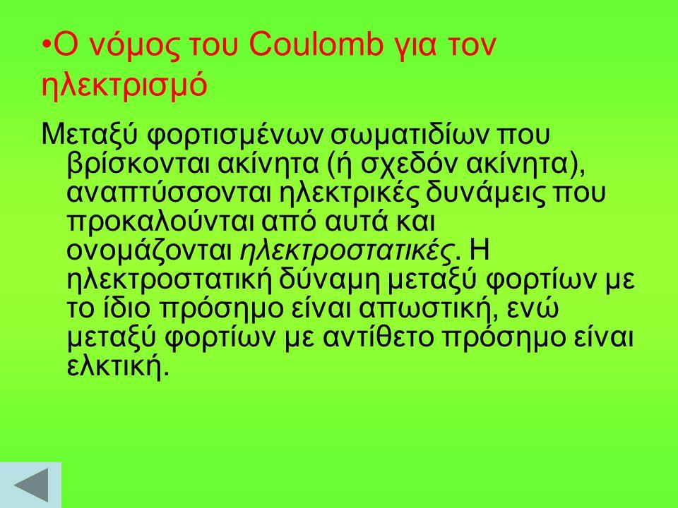 Ο νόμος του Coulomb για τον ηλεκτρισμό