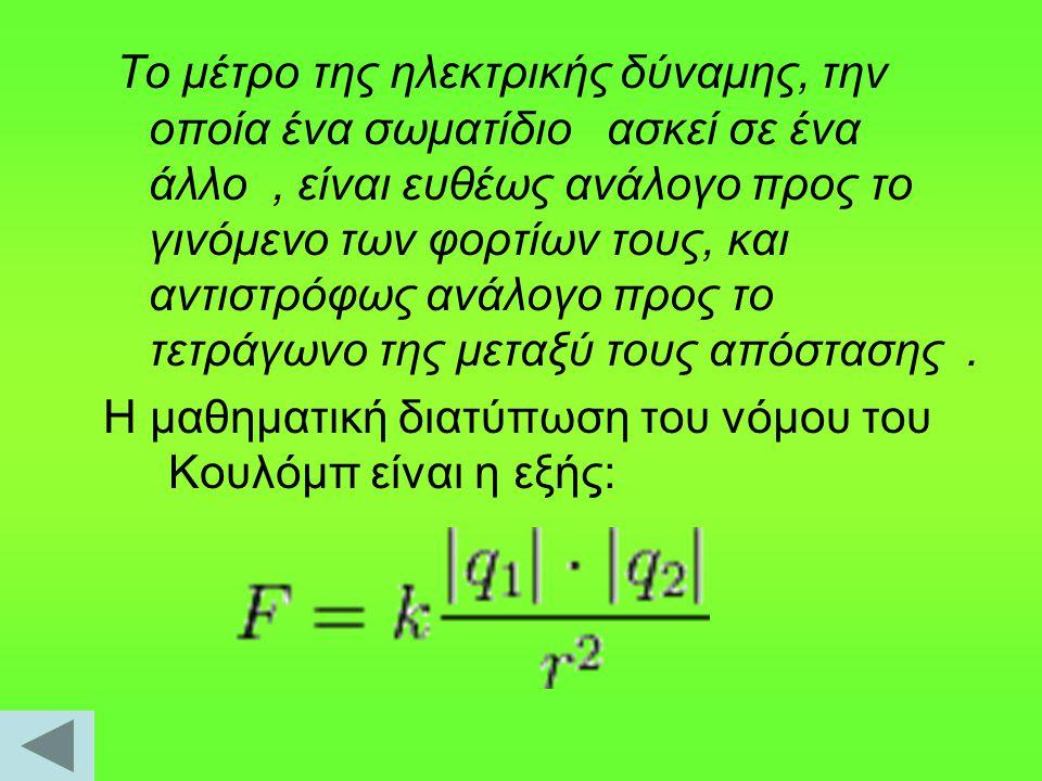 Το μέτρο της ηλεκτρικής δύναμης, την οποία ένα σωματίδιο ασκεί σε ένα άλλο , είναι ευθέως ανάλογο προς το γινόμενο των φορτίων τους, και αντιστρόφως ανάλογο προς το τετράγωνο της μεταξύ τους απόστασης .