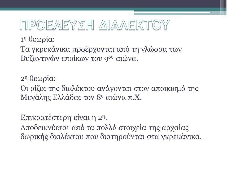 ΠΡΟΕΛΕΥΣΗ ΔΙΑΛΕΚΤΟΥ 1η θεωρία: