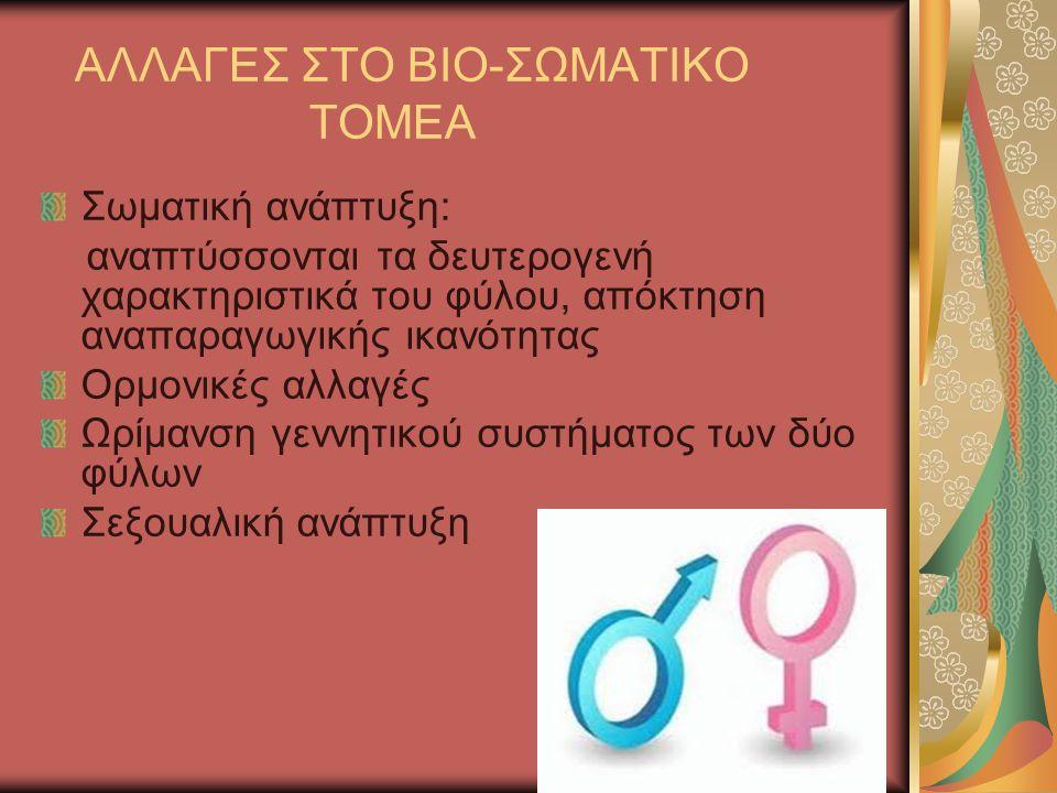 ΑΛΛΑΓΕΣ ΣΤΟ ΒΙΟ-ΣΩΜΑΤΙΚΟ ΤΟΜΕΑ