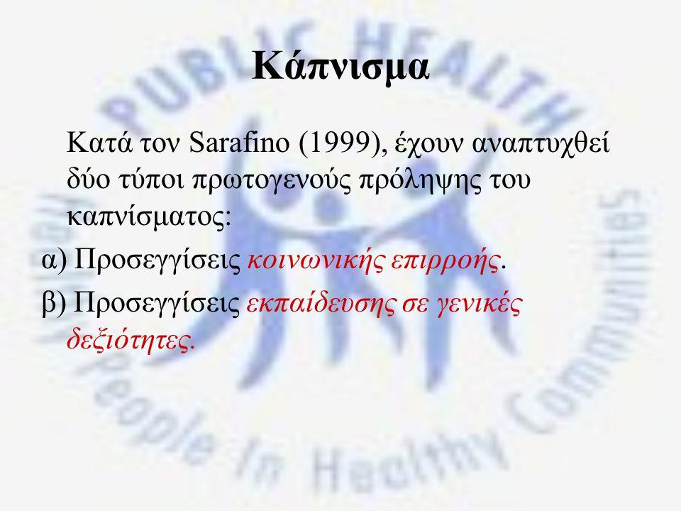 Κάπνισμα Κατά τον Sarafino (1999), έχουν αναπτυχθεί δύο τύποι πρωτογενούς πρόληψης του καπνίσματος: