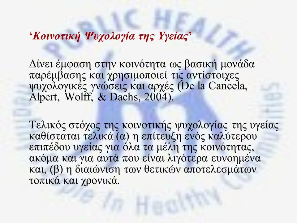 'Κοινοτική Ψυχολογία της Υγείας'