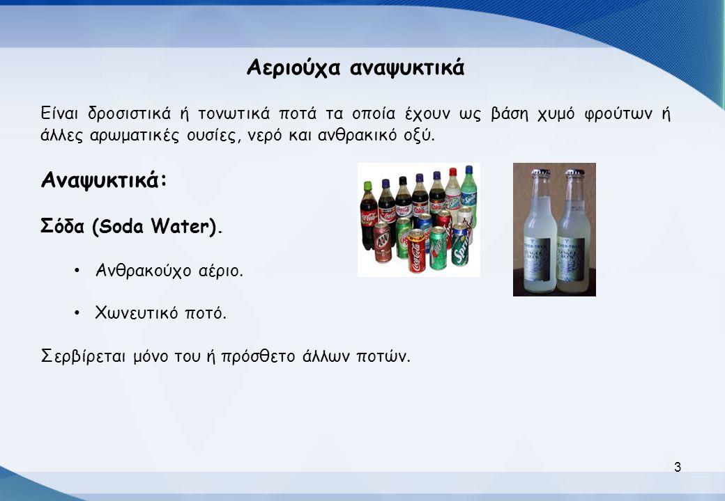Αεριούχα αναψυκτικά Αναψυκτικά: Σόδα (Soda Water).