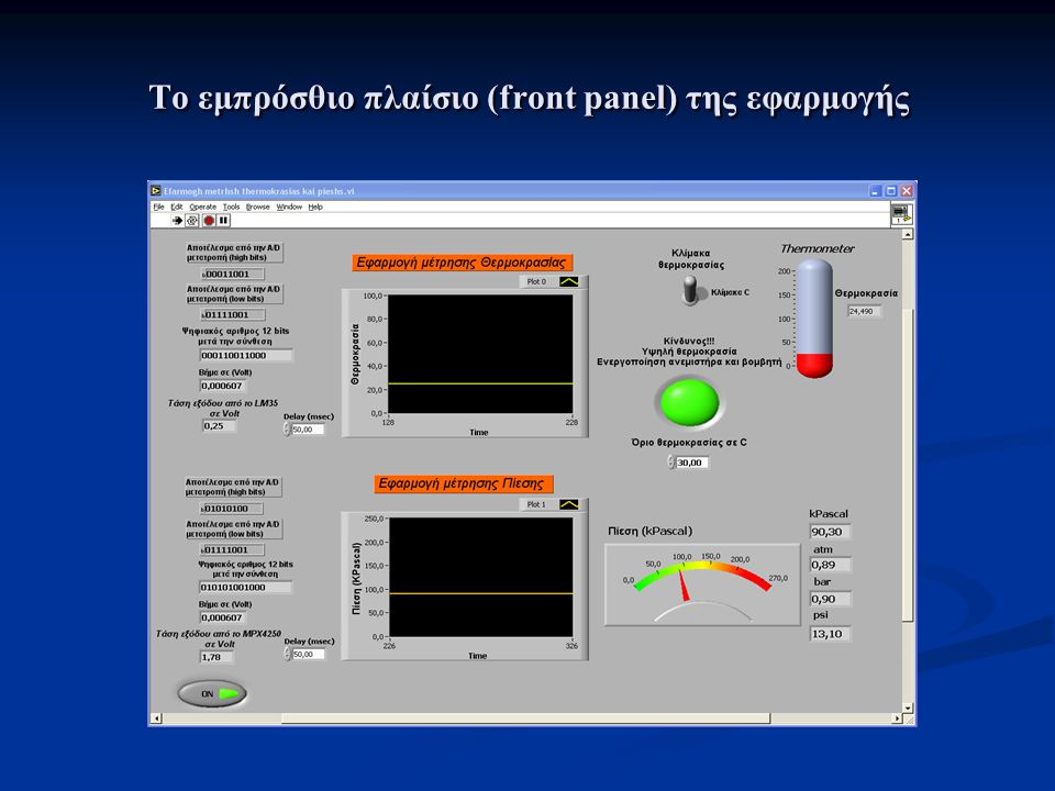 Το εμπρόσθιο πλαίσιο (front panel) της εφαρμογής
