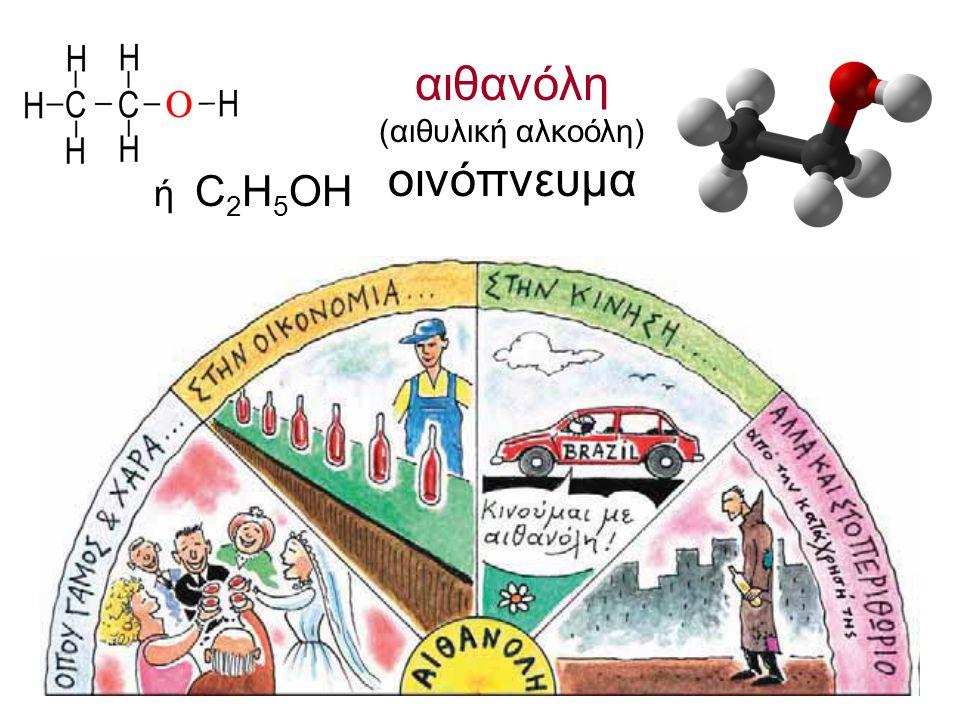 αιθανόλη (αιθυλική αλκοόλη) οινόπνευμα ή C2H5OH