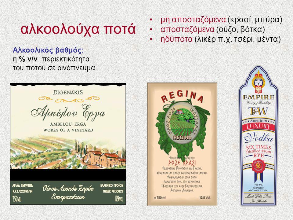 αλκοολούχα ποτά μη αποσταζόμενα (κρασί, μπύρα)