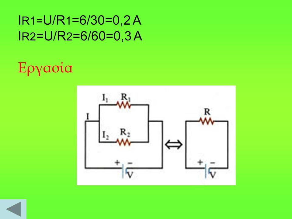 ΙR1=U/R1=6/30=0,2 A IR2=U/R2=6/60=0,3 A Eργασία
