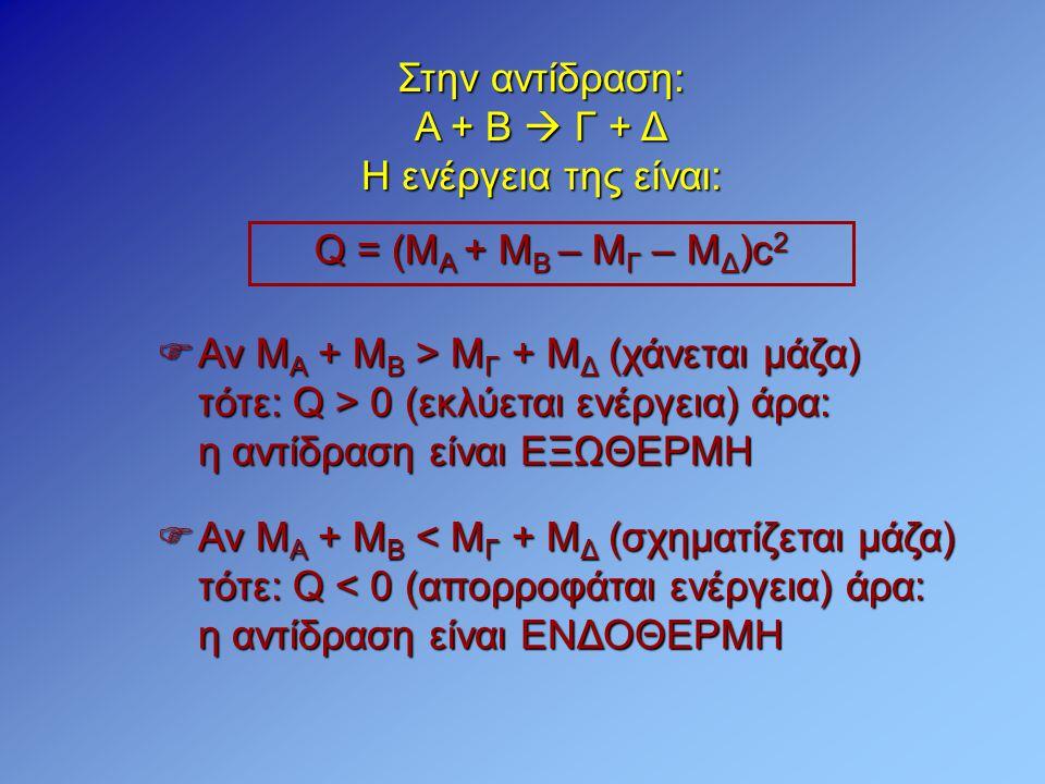 Στην αντίδραση: Α + Β  Γ + Δ. Η ενέργεια της είναι: Q = (MA + MB – MΓ – ΜΔ)c2. Αν ΜΑ + ΜΒ > ΜΓ + ΜΔ (χάνεται μάζα)