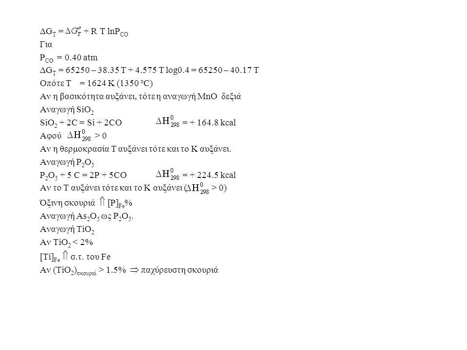 ΔGT = + R T lnPCO Για. PCO = 0.40 atm. ΔGT = 65250 – 38.35 T + 4.575 T log0.4 = 65250 – 40.17 T.