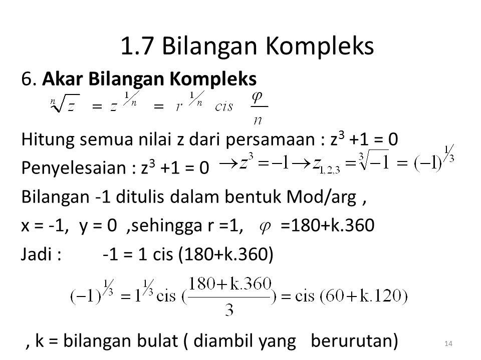 1.7 Bilangan Kompleks 6. Akar Bilangan Kompleks