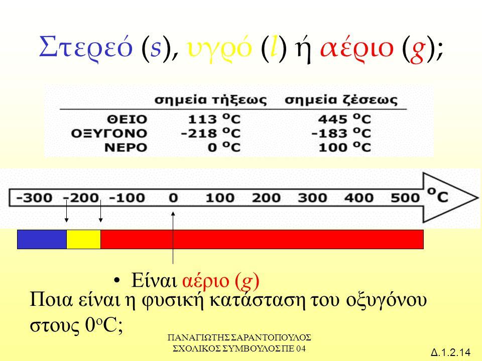 Στερεό (s), υγρό (l) ή αέριο (g);
