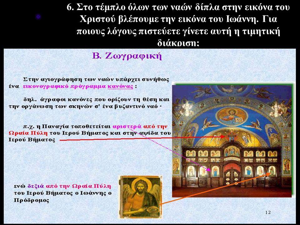 6. Στο τέμπλο όλων των ναών δίπλα στην εικόνα του Χριστού βλέπουμε την εικόνα του Ιωάννη.