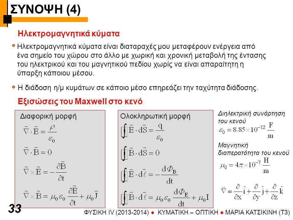 ΣΥΝΟΨΗ (4) 33 Ηλεκτρομαγνητικά κύματα Εξισώσεις του Maxwell στο κενό