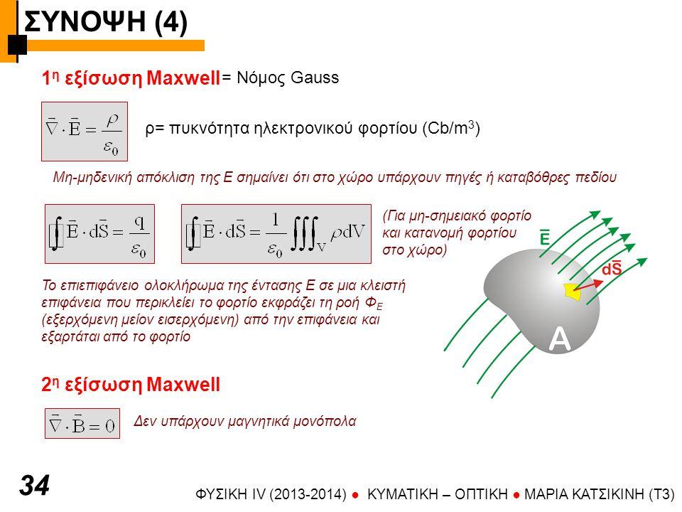 ΣΥΝΟΨΗ (4) 34 1η εξίσωση Maxwell 2η εξίσωση Maxwell = Νόμος Gauss