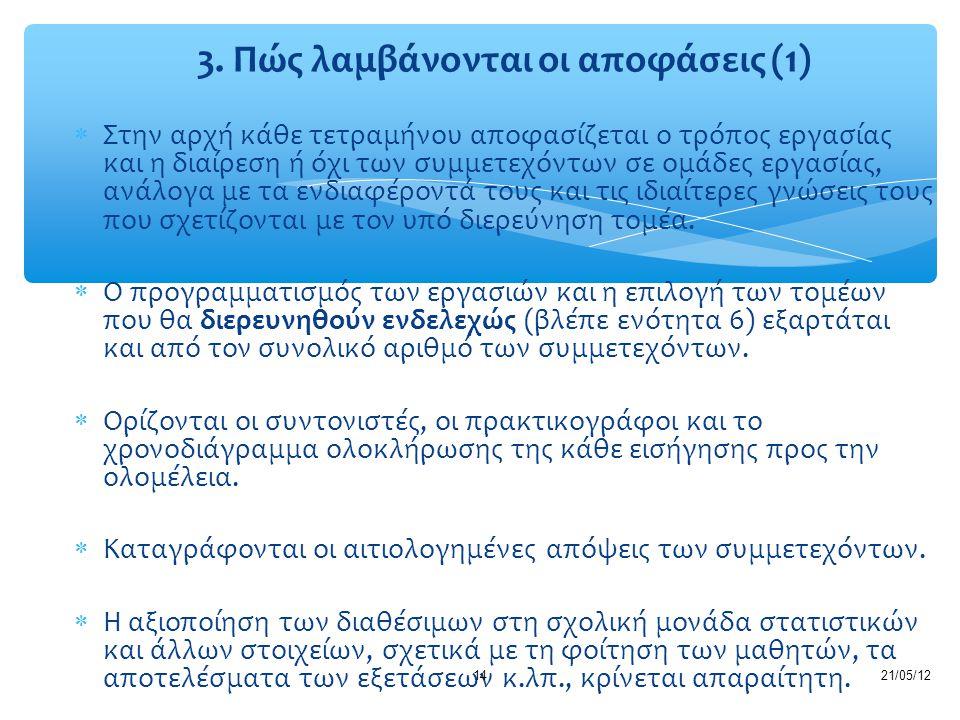 3. Πώς λαμβάνονται οι αποφάσεις (1)