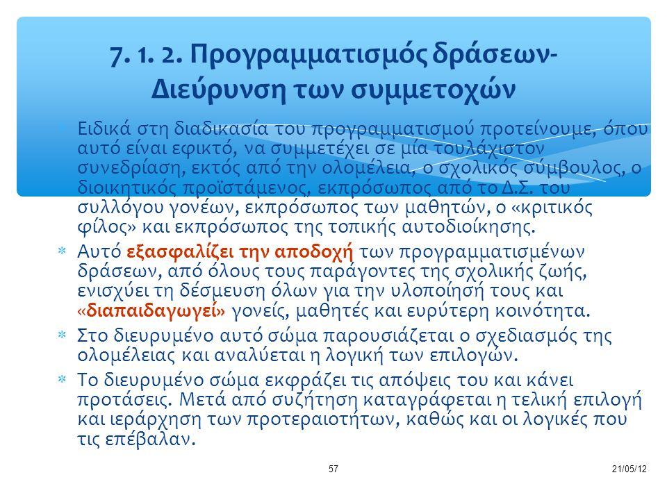 7. 1. 2. Προγραμματισμός δράσεων- Διεύρυνση των συμμετοχών