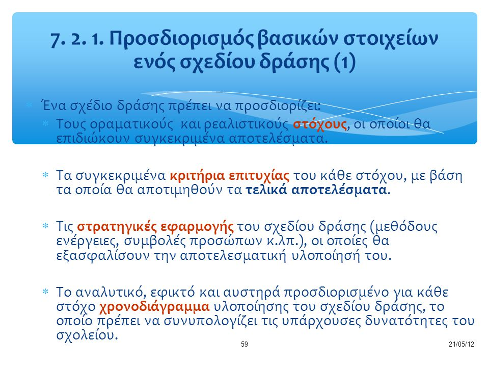 7. 2. 1. Προσδιορισμός βασικών στοιχείων ενός σχεδίου δράσης (1)