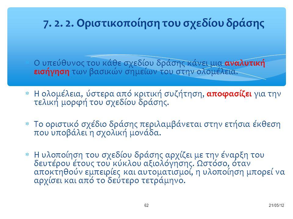 7. 2. 2. Οριστικοποίηση του σχεδίου δράσης