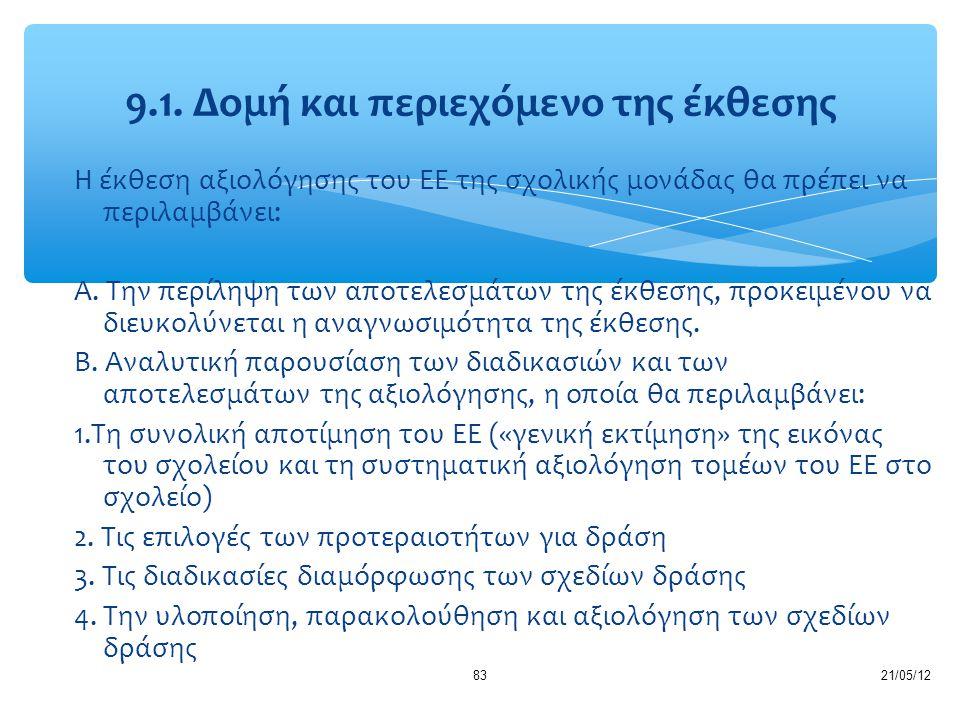 9.1. Δομή και περιεχόμενο της έκθεσης