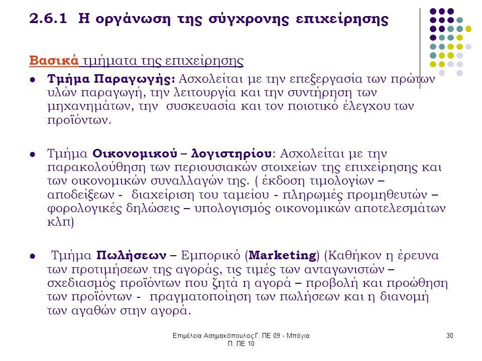 2.6.1 Η οργάνωση της σύγχρονης επιχείρησης