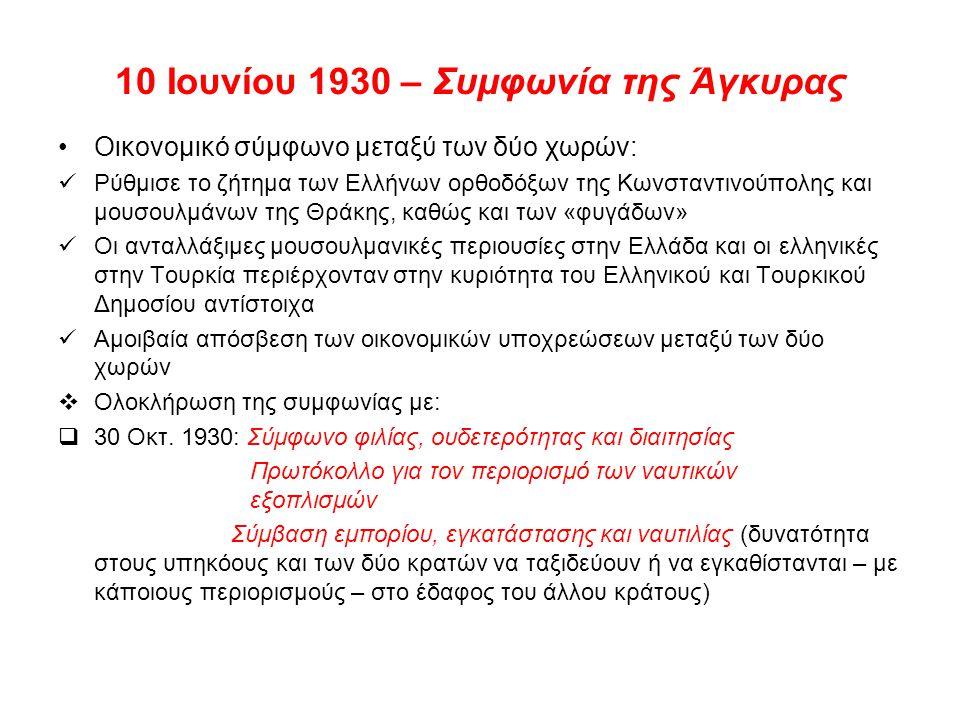 10 Ιουνίου 1930 – Συμφωνία της Άγκυρας