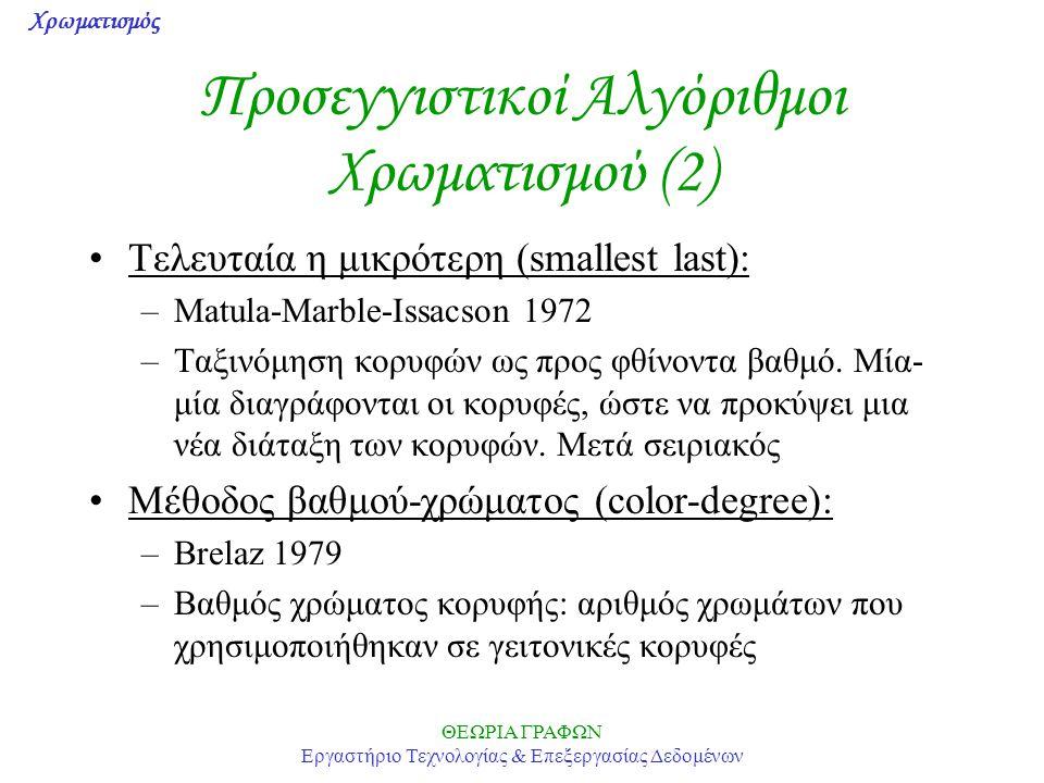 Προσεγγιστικοί Αλγόριθμοι Χρωματισμού (2)
