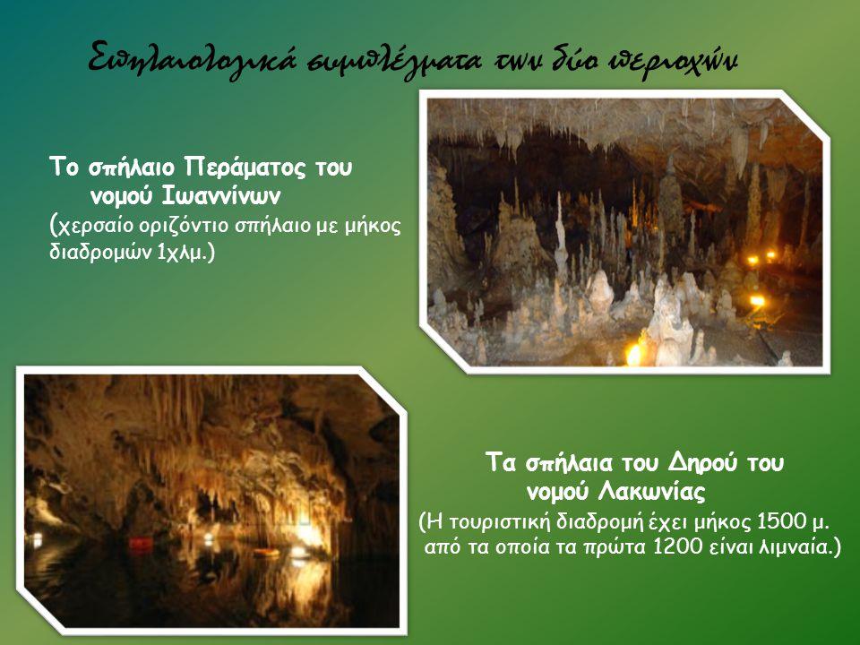 Σπηλαιολογικά συμπλέγματα των δύο περιοχών