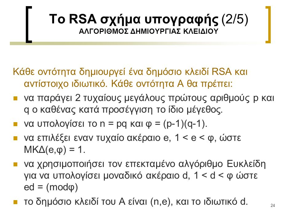 Το RSA σχήμα υπογραφής (2/5) ΑΛΓΟΡΙΘΜΟΣ ΔΗΜΙΟΥΡΓΙΑΣ ΚΛΕΙΔΙΟΥ