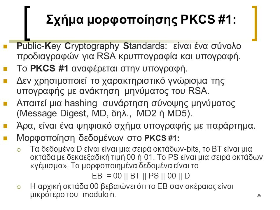 Σχήμα μορφοποίησης PKCS #1: