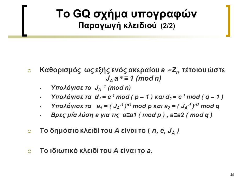 To GQ σχήμα υπογραφών Παραγωγή κλειδιού (2/2)