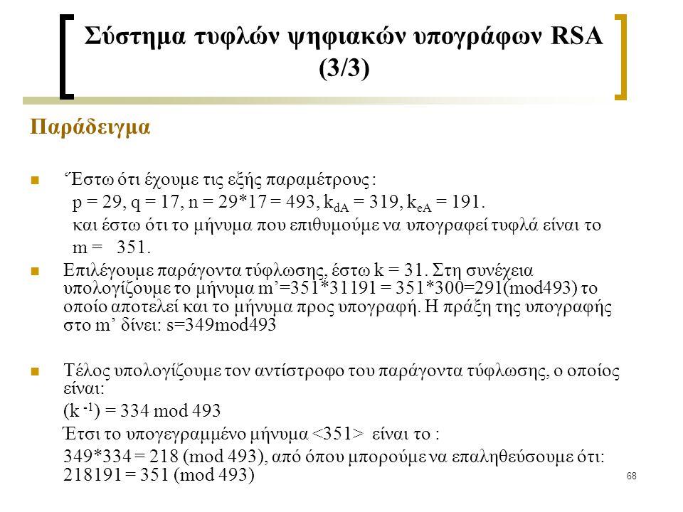 Σύστημα τυφλών ψηφιακών υπογράφων RSA (3/3)