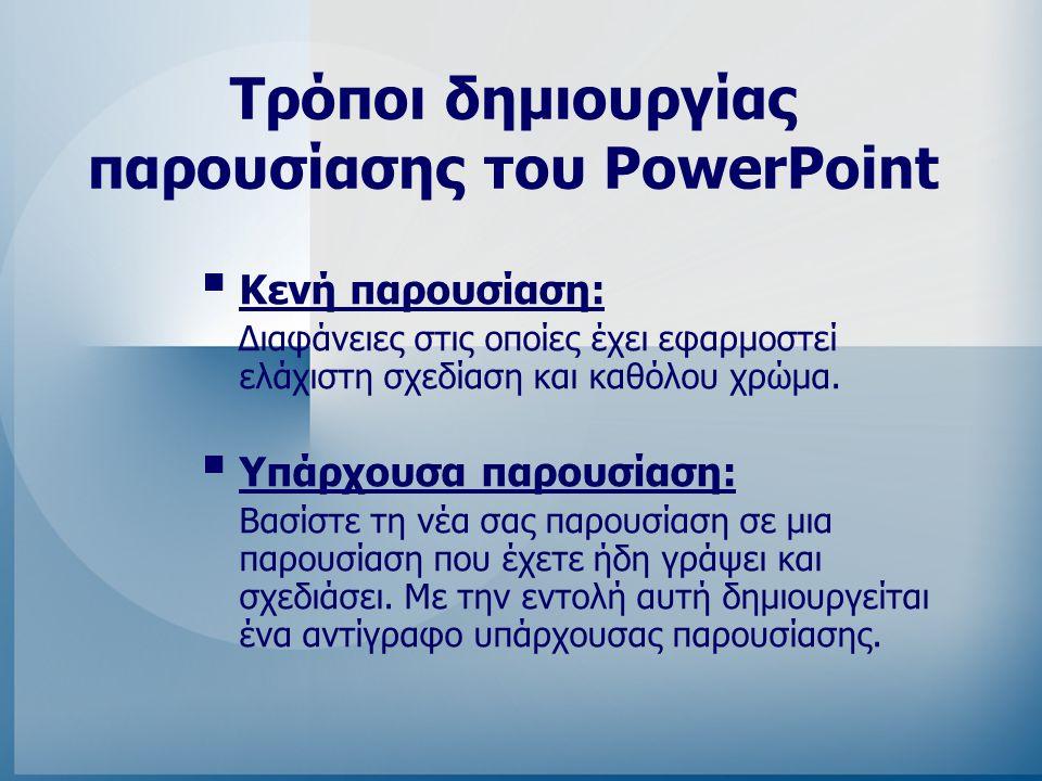Tρόποι δημιουργίας παρουσίασης του PowerPoint
