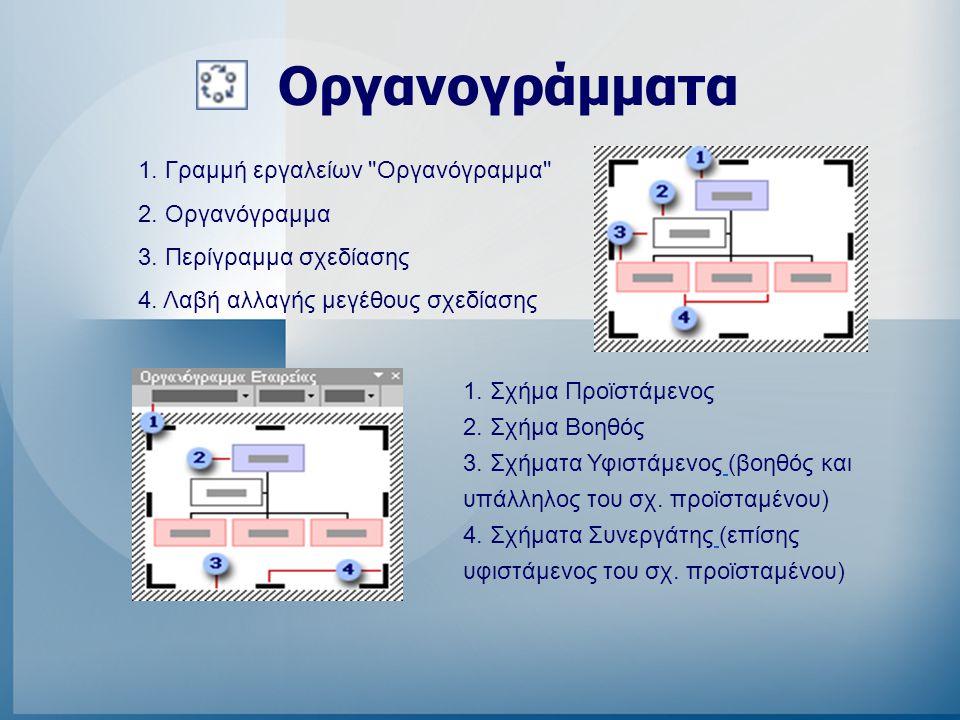 Οργανογράμματα 1. Γραμμή εργαλείων Οργανόγραμμα 2. Οργανόγραμμα
