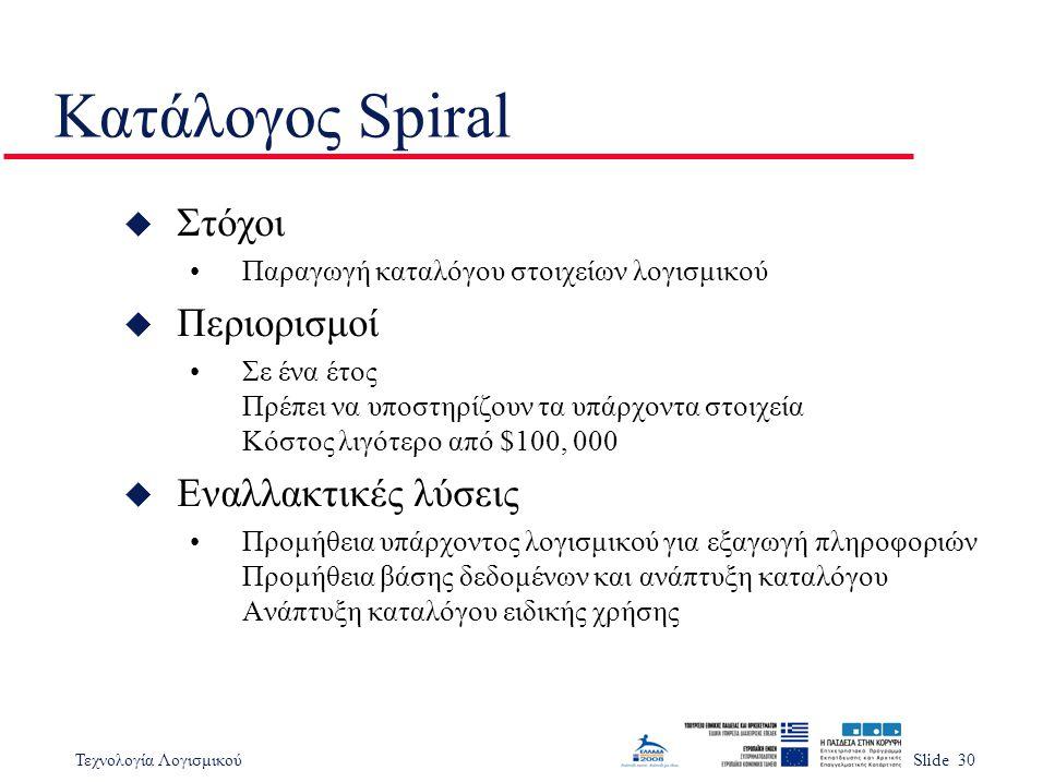 Κατάλογος Spiral Στόχοι Περιορισμοί Εναλλακτικές λύσεις