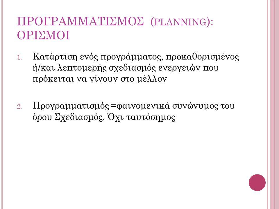 ΠΡΟΓΡΑΜΜΑΤΙΣΜΟΣ (planning): ΟΡΙΣΜΟΙ